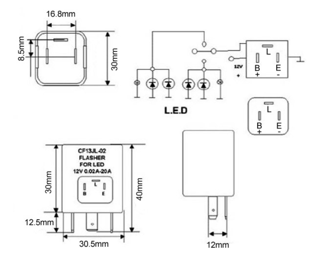 hella flasher wiring diagram flasher led 12v 150w 3 pin compatible with ep35 ep36 cf13  flasher led 12v 150w 3 pin compatible