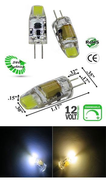 G4 GY6.35 LED 1 Watt Dimmable  Low Profile 12V AC-DC
