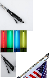 LED RGB Wrapped Whip Antenna 12 Volt DC RF Remote