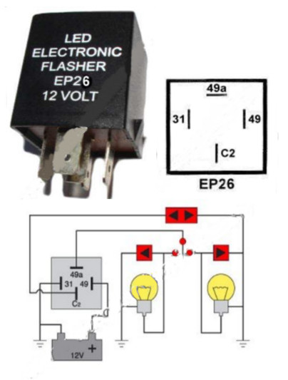 EP26 Flasher LED Compatible 12 Volt DC 150 Watt 4 Terminal