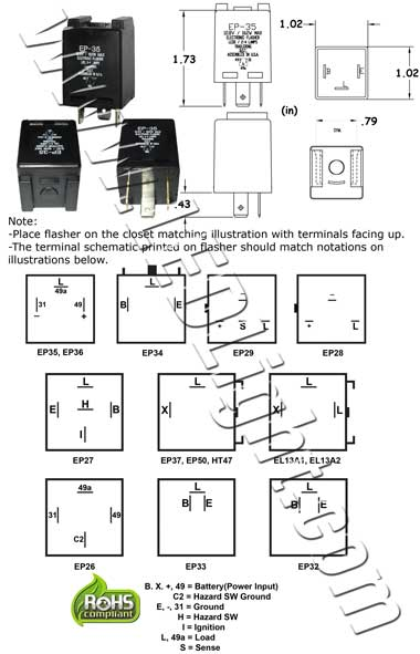 Grote Turn Signal Switch Wiring Diagram furthermore Ep35 Flasher Wiring Diagram moreover Signals additionally Three Prong Flasher Wiring moreover 2i74u Flasher Relay Located 19197 4runner. on led turn signal flasher relay