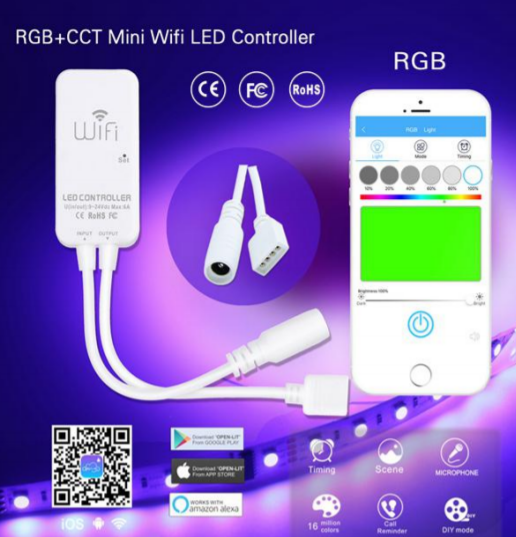 RGB WIFI Mini 4 Pin Controller 9-24V 3 Channel 2 Amps 72W