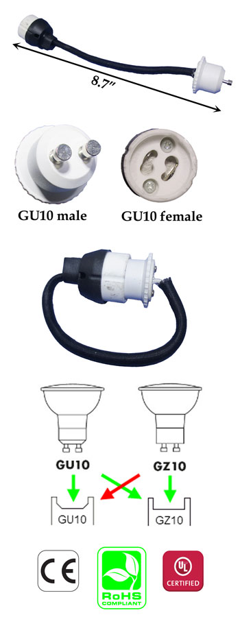 GU10 male to GU10 female Extension 15cm 18awg wire