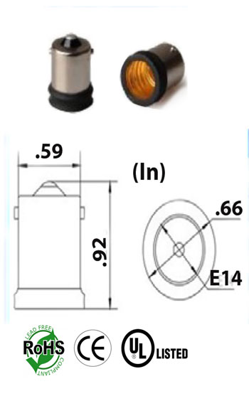 BA15S male to E14 Screw female Adapter Converter