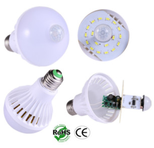 A60 Bulb LED 5 Watt Motion Sensor E27 Male 85-265 VAC 360 Beam