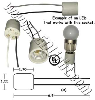 E26 E27 Female Socket With Wires Sockets Ledlight