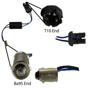 BA9S male to T10 female Load Equalizer Warning Canceler