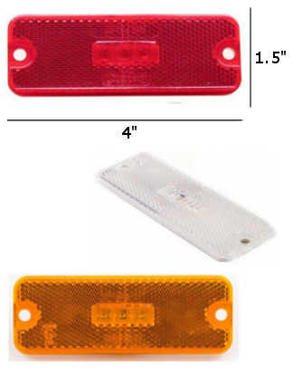 "4"" x 1.5"" Rectangle Side Marker and Clearance Reflector Light"