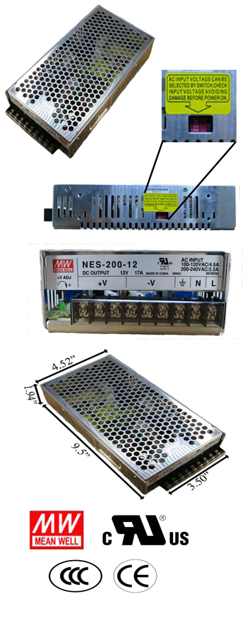 200 Watt Power Supply 12V DC Input 88-132VAC