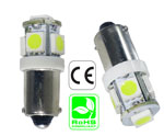 BA9S 6 Volt DC 5 LED 360 Degree Dimmable T3-1/4