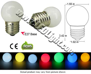 E27 Globe LED Light Bulb 120 VAC 360 Degree View