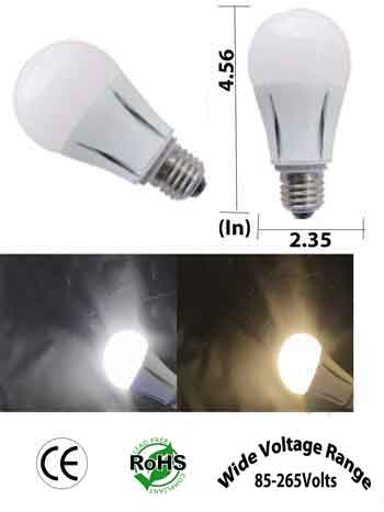 E26 LED Bulb 8 Watt A19 85-265 VAC E27