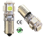 Miniature Bulb BAX9S Base 5 5050 1.5W LED 12V DC T3 1/4