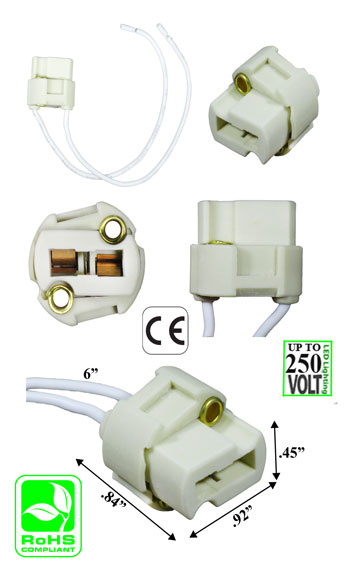 G9 female Ceramic Socket with Wires 250V 2A