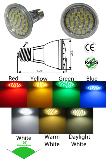 Par20 LED 5 Watt 120 V E27 Clear Lens 120 Viewing Angle