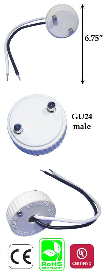 GU24 male to #18 AWG Wire 15cm Harness