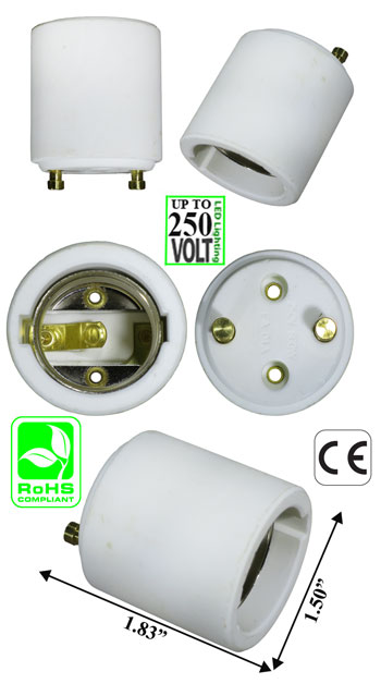GU24 2 Pin male to E26 female Ceramic Lamp Holder Converter