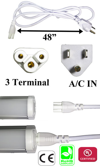 AC Power Cord 3 Terminal Female for T5 or T8 Tube White