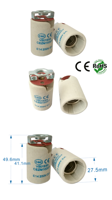 E14 female socket ceramic