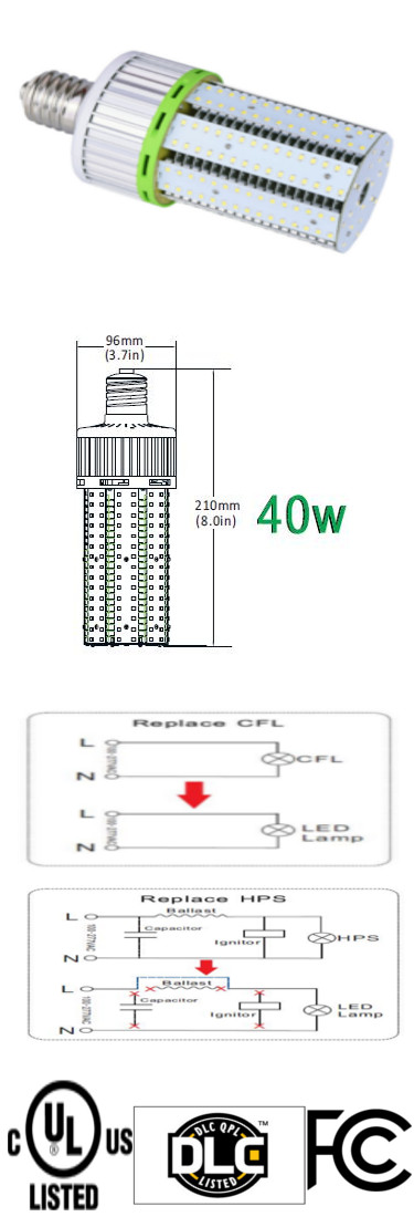 LED Bulb 40 Watt E39 Mogul 100-305VAC 360 Degree Viewing