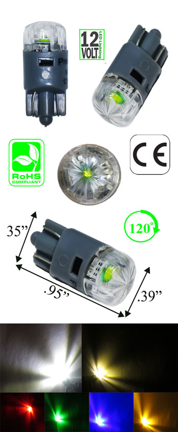194 Miniature Bulb Wedge Base 3 Watt 12 Volt DC T3 1/4