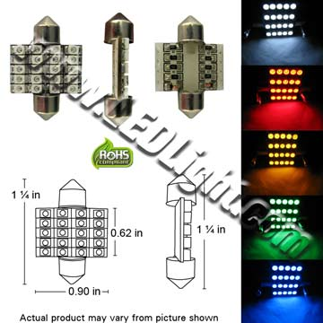 Festoon Ultra Bright 20 SMD LED 1-1-4-Inches 33 mm