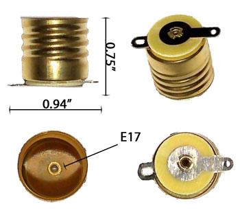 E17 Screw Socket with Solderable tabs