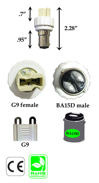 BA15D Male to G9 Female Converter Adapter