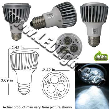 PAR20 9 Watt High Power LED 85-260 VAC 30 Degree E26