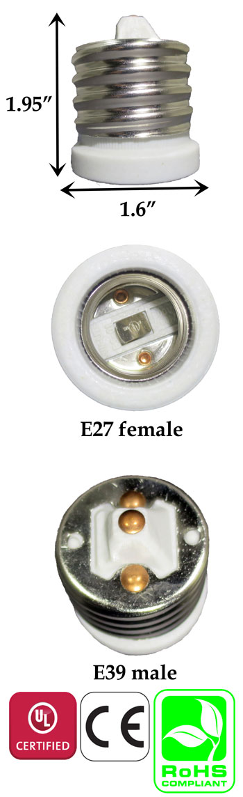 E39 Male To E27 Female Converter Adapter Ceramic