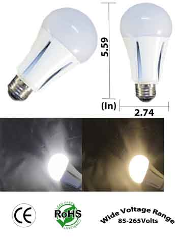 A19 13 Watt LED Bulb 100 to 240 VAC Non Dimmable