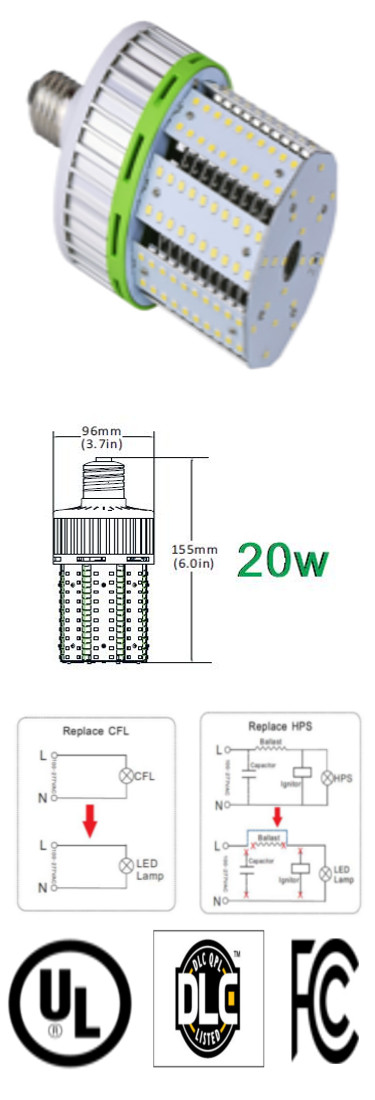 LED Bulb 20 Watt E39 360 Degree 100-305VAC