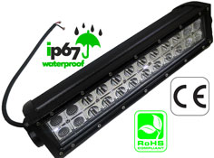 LED Bar 72 Watt Dual Row 3 Watt Amber 10-30 VDC IP67 Combo Beam