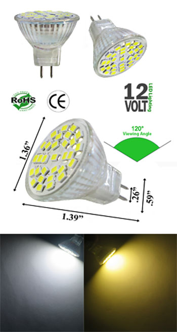 MR11 LED 2.5 Watt 10 to 30 Volts DC 120 Viewing