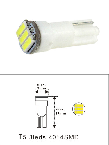 Miniature Wedge T5 3 4014 SMD LED Bulb T1-3/4 24 VDC