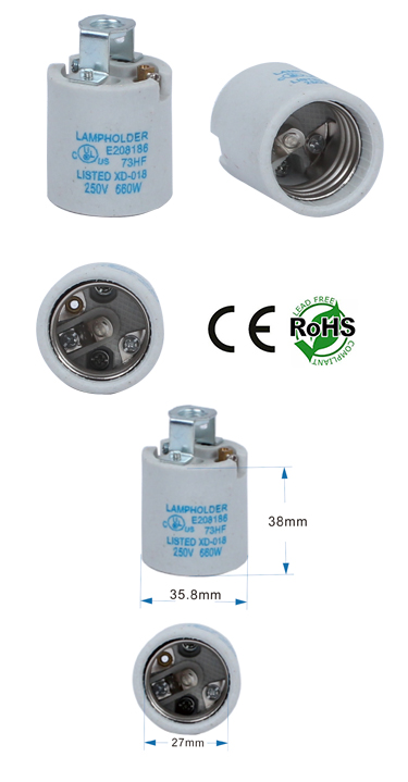 E26 Female Porcelain Socket with Screw Terminals