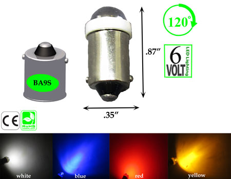 BA9S Short Round 6 Volt DC 120 Degree Viewing Dimmable