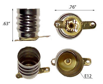 Image for E12 Screw Base Socket with Solderable Tabs
