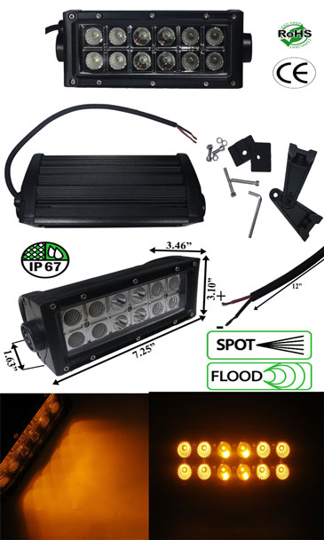 LED Bar 36 Watt Dual Row 3 Watt Amber 10-30 VDC IP67 Combo Beam