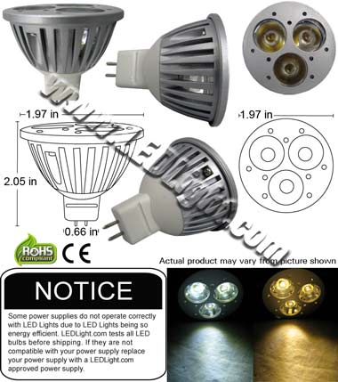 MR16 Three 1 Watt LED 12 Volt AC-DC