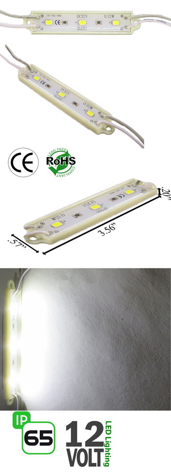 Module 3 LED 5630 0.72 Watt 12 Volt DC IP65 NCNR