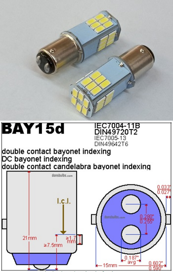 1154 LED Mini Bulb 6 Volt BAY15D Base 30 SMD