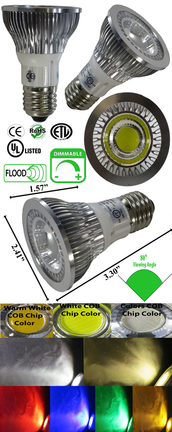 Par20 LED Dimmable 5 Watt 120 VAC 80 Degree E27