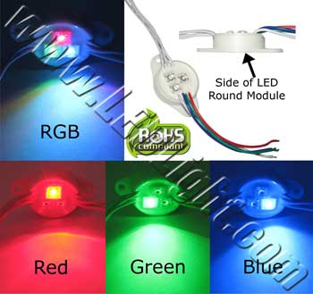 Water Proof Module Round RGB Common Anode 12 Volt AC/DC NCNR