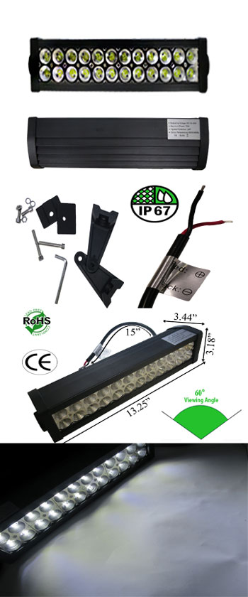 LED Bar 72 Watt 60 Degree 10-30 VDC Black
